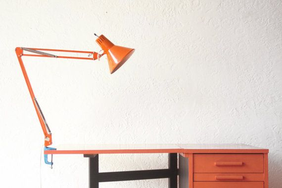 Orange Drafting Light Task Lamp by OtherTimesVintage on Etsy, $59.00