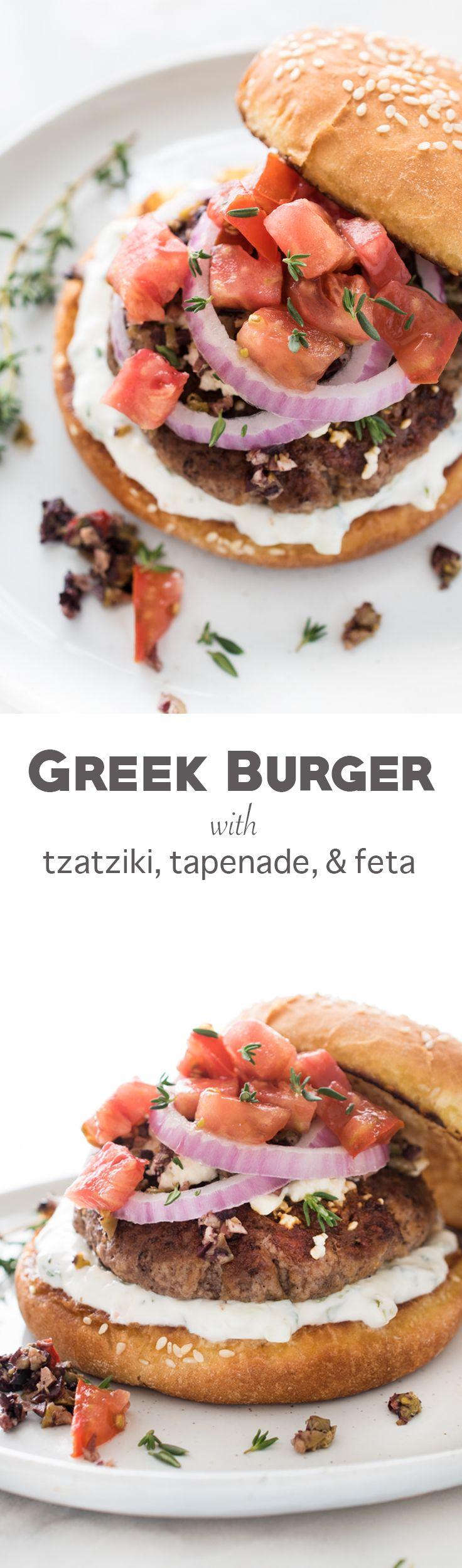 Juicy and succulent Greek Burger with Tzatziki, Tapenade, and Feta - perfect for the grill or in the skillet!