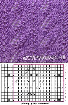 Узор 671 | каталог вязаных спицами узоров