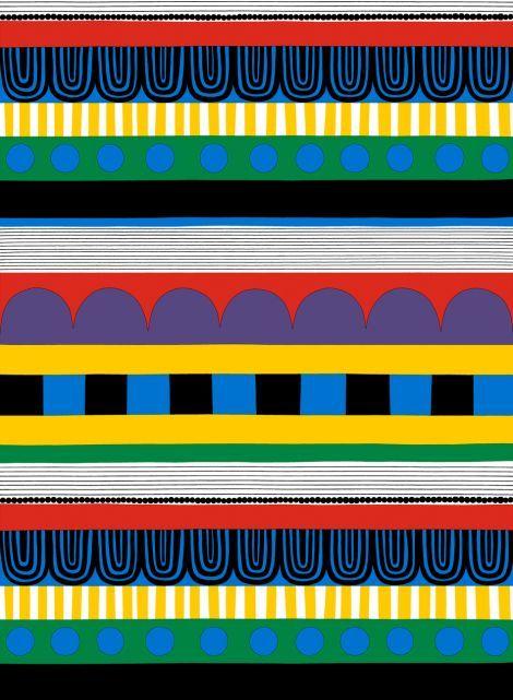 Ryijy-kangas (valko, sini, kelta, puna) |Kankaat, Puuvillakankaat | Marimekko