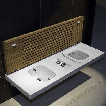 G-Full toilet og bidet bænk i hvid porcelæn. Made in Italy