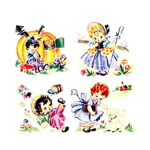 FABULOUS! vintage chic ~ NURSERY RHYME DECALS ~ shabby cottage TRANSFERS
