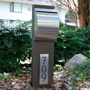 Check out http://mailboxmd.com!  We design, build, and sell contemporary/modern stainless steel mailboxes and address plaques in a variety of custom colors and styles.