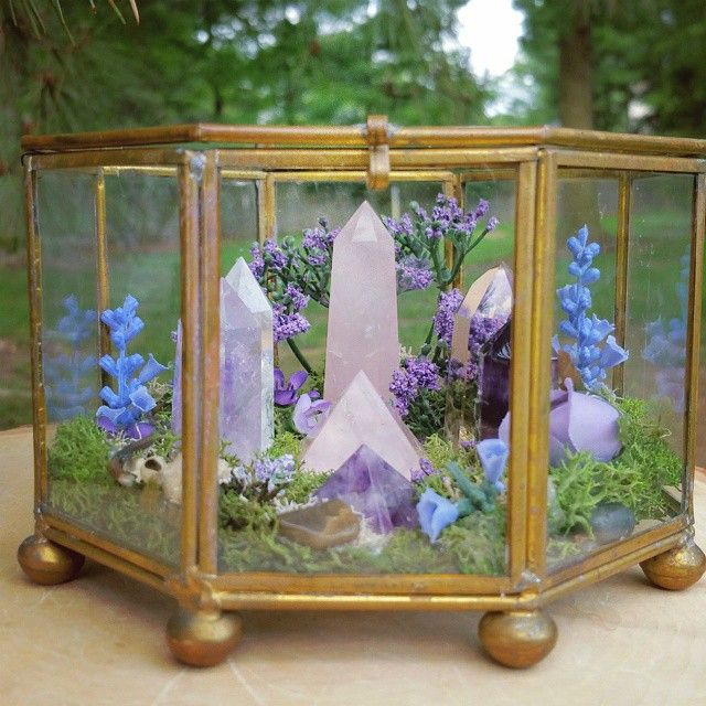 Crystal in glass box altar