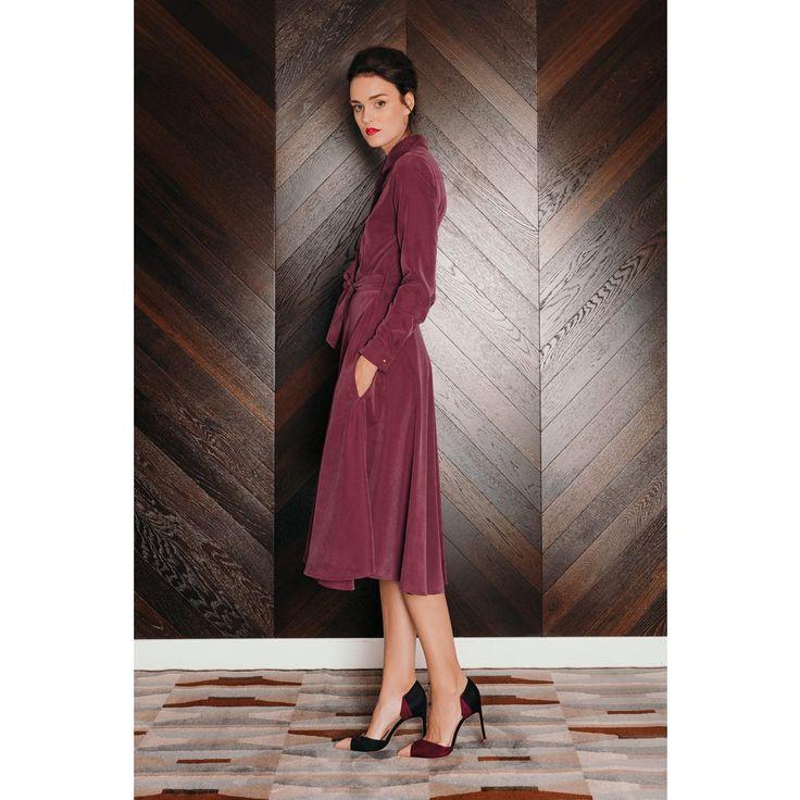 Purple Circle Skirt Midi Shirt Dress | Undress | Wolf & Badger