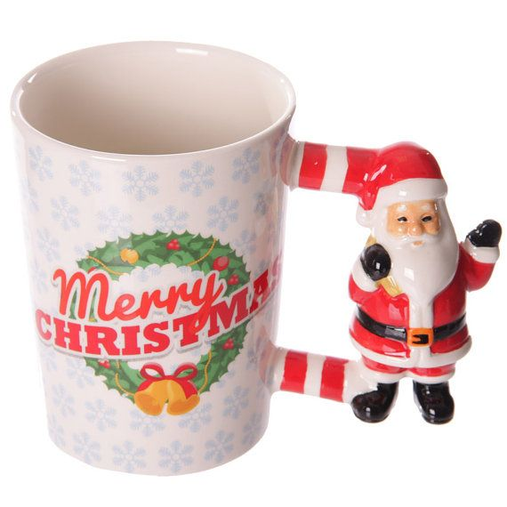 Christmas Ceramic Mug with Santa Shaped Handle by getgiftideas
