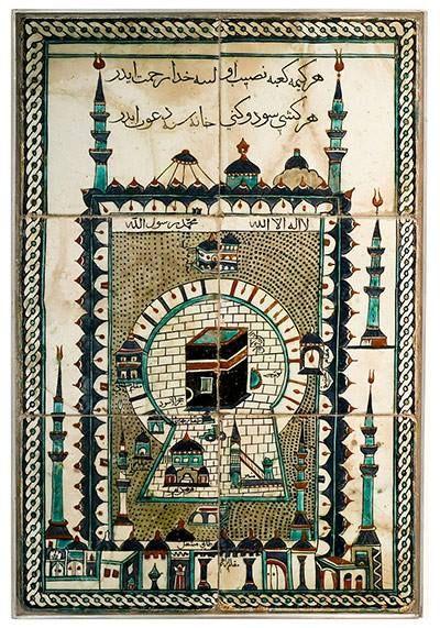 Kaaba-Kabe,Tile depicting the sanctuary at Mecca from Iznik, Turkey (17th century)