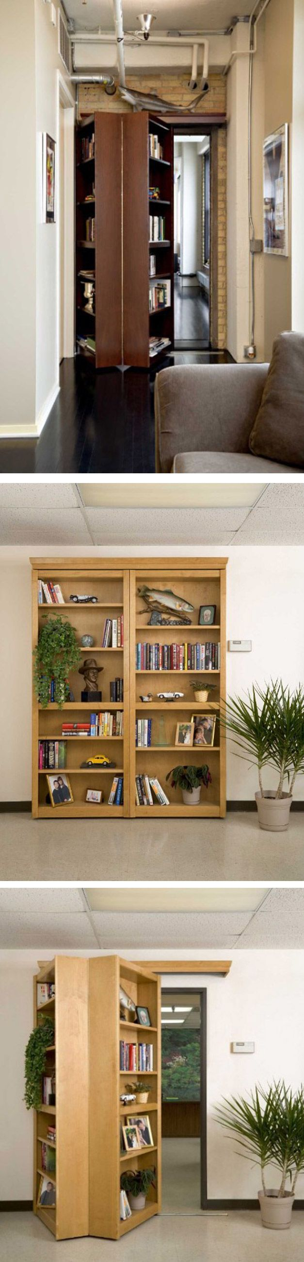 arent doors just a waste of space? This could be really something I could work with in general living spaces.!  Hidden Bookcase/Door