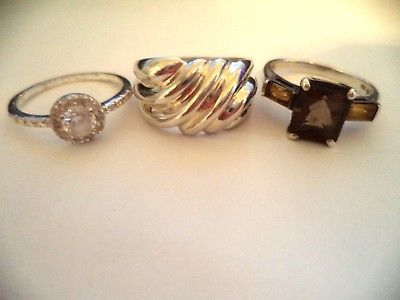 Lot of 3 rings sterling silver sz.9 smoky topaz stone *pretty vintage rings*