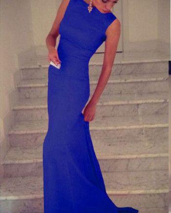 Blauwe Mouwloze Maxi Dress