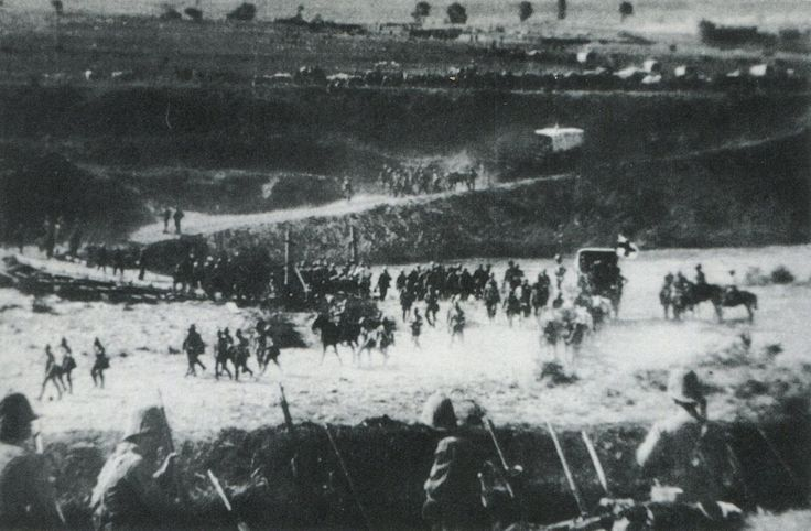 British troops retreating across the Tugela River after the Battle of Spion Kop