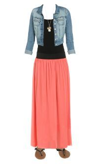 Hot off the WetSeal Runway: Coral Maxi Skirt outfit ...