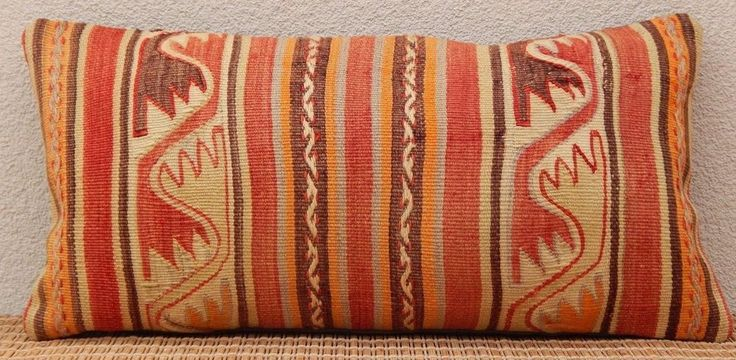 12x24'' Turque Kilim Coussin,Faded Color Outdoor Long Kilim Lumbar Pillow Cover #Handmade #AntiqueStyle