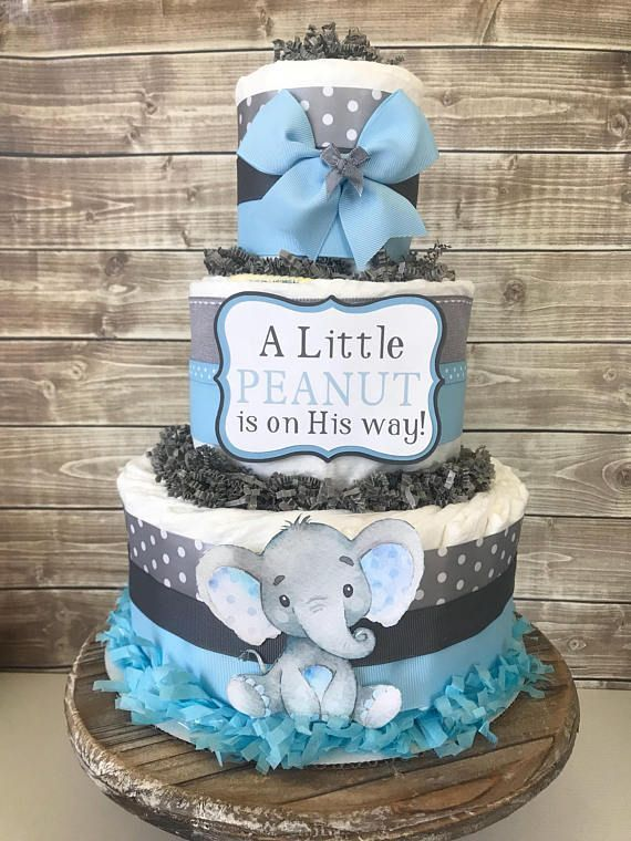 Elephant Diaper Cake In Blue And Gray Elephant Baby Shower For