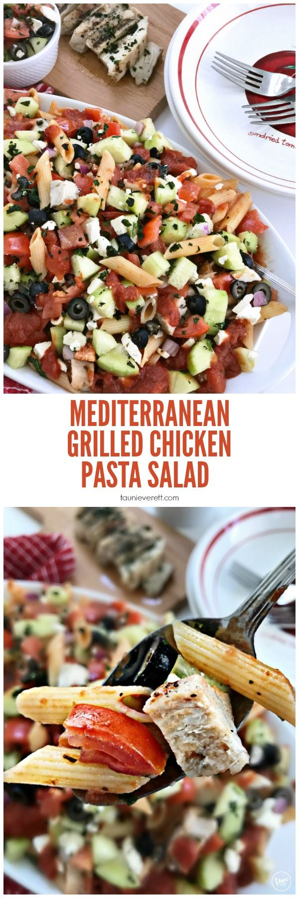 Mediterranean Grilled Chicken Pasta Salad Recipe with @barillausa. BONUS: It's best served cold so it can be made ahead for busy weeknights! For every box of Barilla Blue Box pasta purchase at Walmart between 8/10/2017 – 10/31/2017, Barilla will donate $1 to No Kid Hungry, up to $50,000. AD #BarillaUS #NoKidHungry