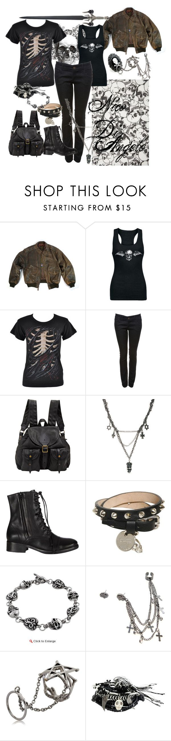 """Percy Jackson and the Olympians; Nico De Angelo"" by meagan-wymbs ❤ liked on Polyvore featuring Miss Selfridge, Jas M.B., Religion Clothing, AllSaints, Alexander McQueen, Gisele Ganne, ALDO and D.L. & Co."
