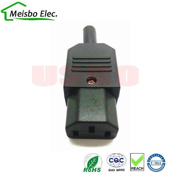 Neue Großhandelspreis 10A 250 V Schwarz IEC C13 buchse Stecker Kabelmontage Stromanschluss 3 pin Ac-buchse