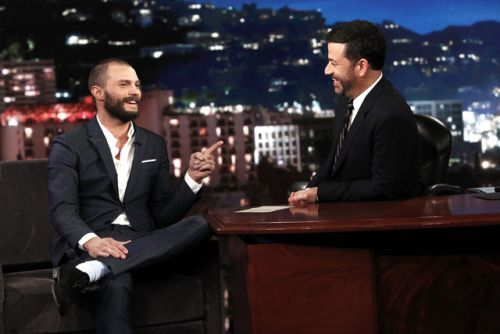 Jamie Dornan at Jimmy Kimmel Live in LA - 31 January 2017  Click on for more Darker or US Press Tour info, TV Shows & Appearances  lovefiftyshades.com | twitter | instagram | pinterest | youtube