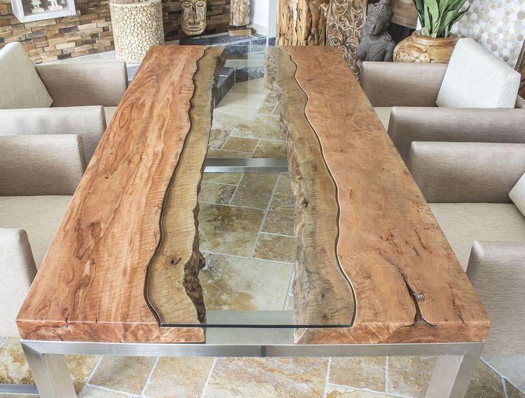 DER TISCHBETON :: Designer Tisch Massivholztisch mit Glas und Edelstahl   – Tische