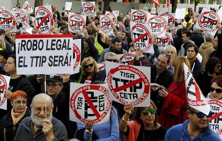 20.000 personas se manifiestan en Madrid contra tratados de libre comercio