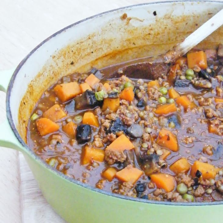 Vegetable and Lentil Stew Recipe Lunch and Snacks, Main Course with olive oil, onion, carrots, butternut squash, chestnut mushrooms, lentils, frozen peas, vegetarian, red wine, vegetable stock, tomato purée, whole grain mustard, black pepper, salt