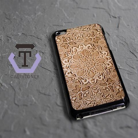 Wood Mandala Texture iPod 4 Black Case