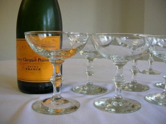 Vintage Champagne Glasses Set Of Eight by BunacatVintage on Etsy