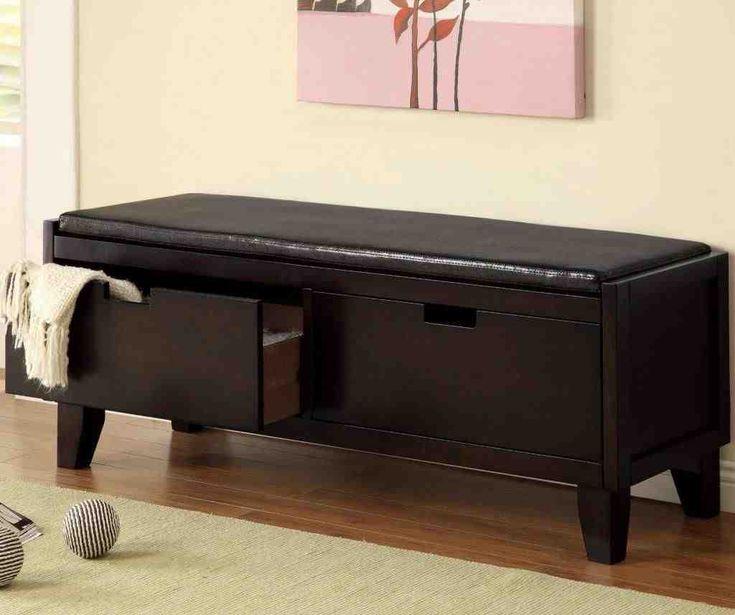 Black Storage Bench with Cushion
