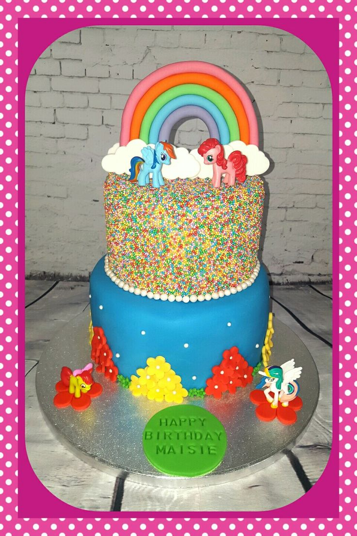 My little pony cake with sprinkles and rainbow