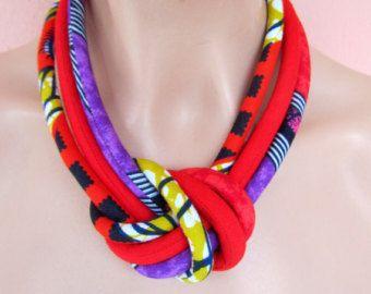 Impresión africana borla collar brillante colores a por nad205