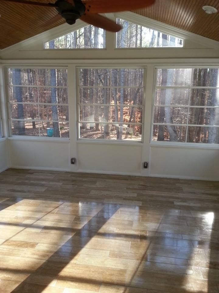 Raleigh Screened In Porch With Travertine Tile Raleigh 3