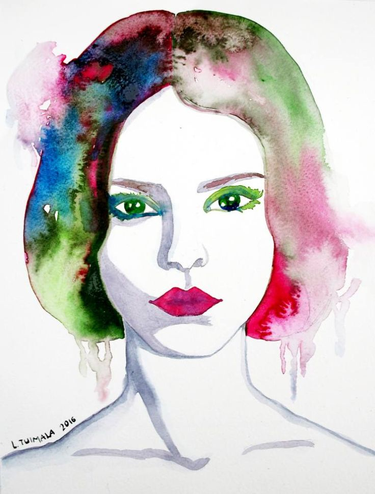 "$195 USD ""Green-eyed""  Original watercolor painting by Liisa Tuimala. http://www.liisatuimala.com   #watercolor #fashion"