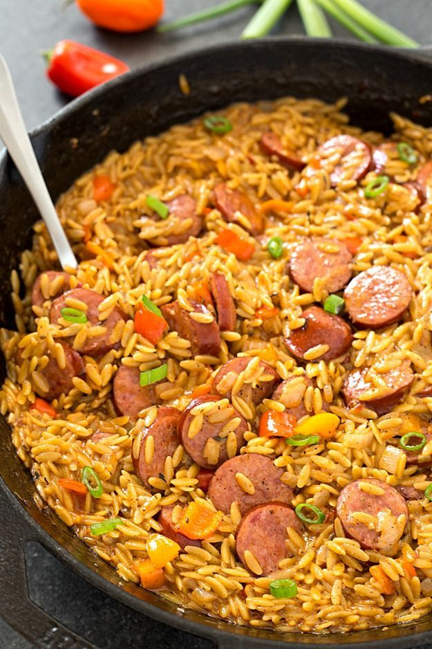 Sausage and Creamy Cajun Orzo Skillet - Make dinner a breeze with a meal all made in one skillet in only 20 minutes! So creamy and delicious. Makes for a great meal or a flavorful side-dish! /krogerco/ #ad #nohasslesavorymeal #Pmedia