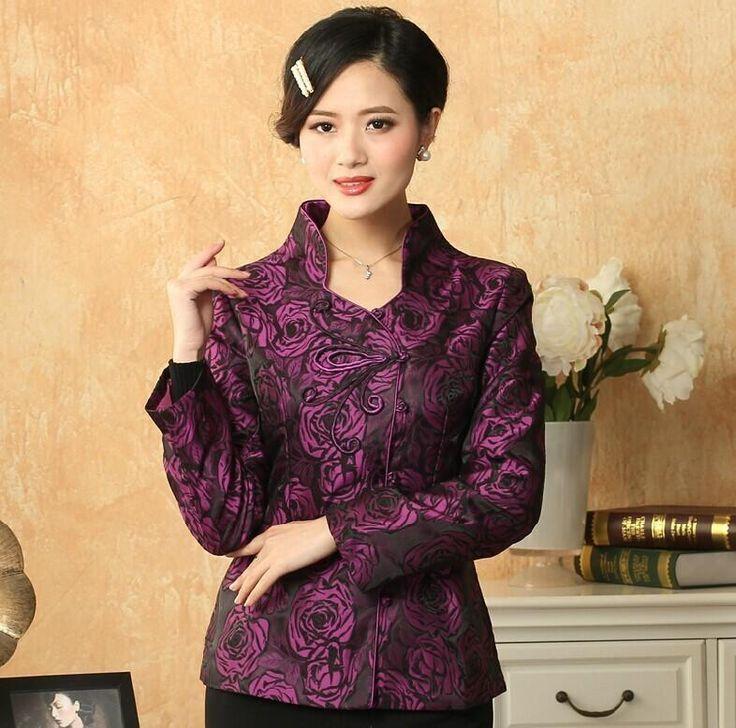Стильный фиолетовый китайский леди атлас тан костюм аппликации куртка элегантный приталенный цветок пальто размер S M L XL XXL XXXL NJ82