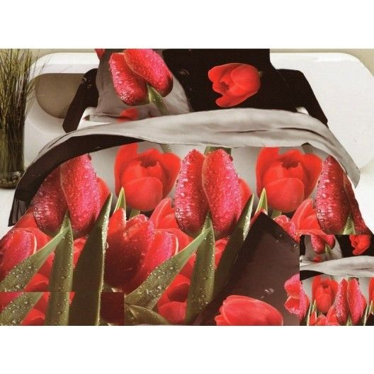 Hnedo krémové 3D posteľné obliečky s červenými tulipánmi