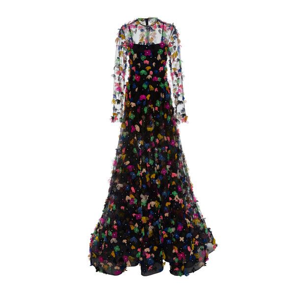 Christian Siriano Black Sheer Floral Appliqué Gown ($7,800) ❤ liked on Polyvore featuring dresses, gowns, black, see-through dresses, floral ball gown, floral evening dresses, floral evening gown and long sleeve ball gowns