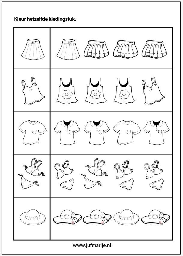 Kleur hetzelfde kledingstuk. Color the clothing that is the same