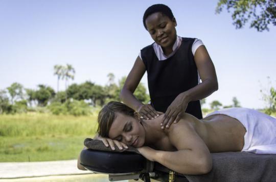 Massage under the African sky at Mombo Camp (Okavango Delta, Botswana). Any questions: info@gondwanatoursandsafaris.com - we reply within 24h!