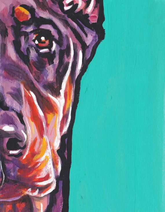 "de rojo Doberman Pinscher retrato Giclee de arte pop perro pintura colores 13 x 19 """