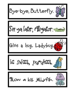 Goodbye Rhymes are an interactive visual to help kids recognize the rhythm, patterns, and rhyming words.  Post these next to your door and recite t...