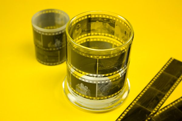 use your photo negatives on glass candle holders to light up the memories :)