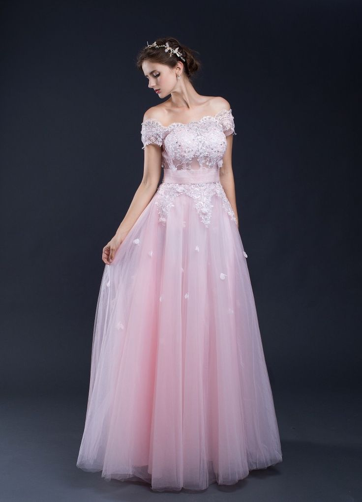 A-Line Off The Shoulder Elegant Lace Up Back Long Bridesmaid Dress