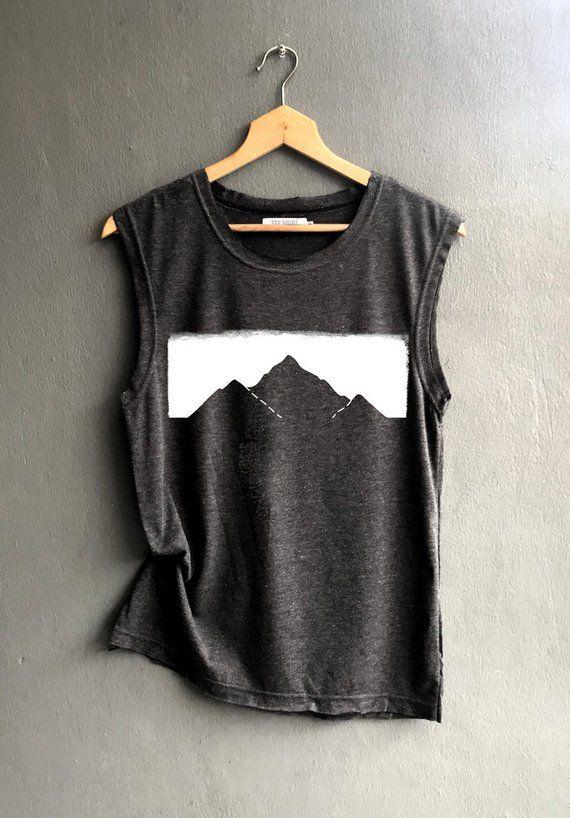 Mountains Shirt – mountains fog Shirt – Camping Shirt – mountains Tank top Shirt Muscle Tank Top Wom