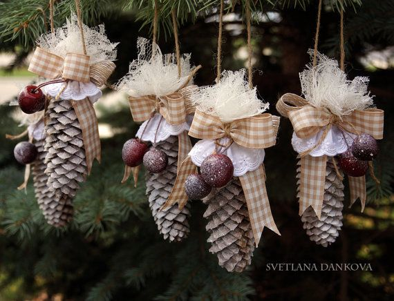 Rustic Pine Cone Christmas Ornament... These are 4-sale. But, they look simple enough to make.