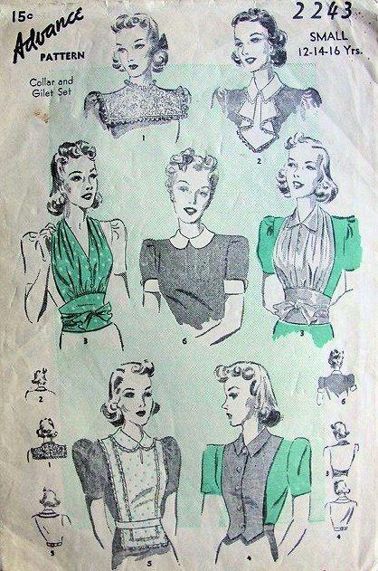 anticipo 1930s 2243 collare e Gilet Jabot modello 6 stili grande giorno o sera perfetto sotto abiti Vintage Sewing Pattern di SoVintageOnEtsy su Etsy https://www.etsy.com/it/listing/208870999/anticipo-1930s-2243-collare-e-gilet