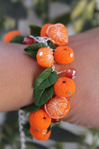 Jewelry Bracelet & Earrings /Orange Mandarin / Handmade / Polymer clay