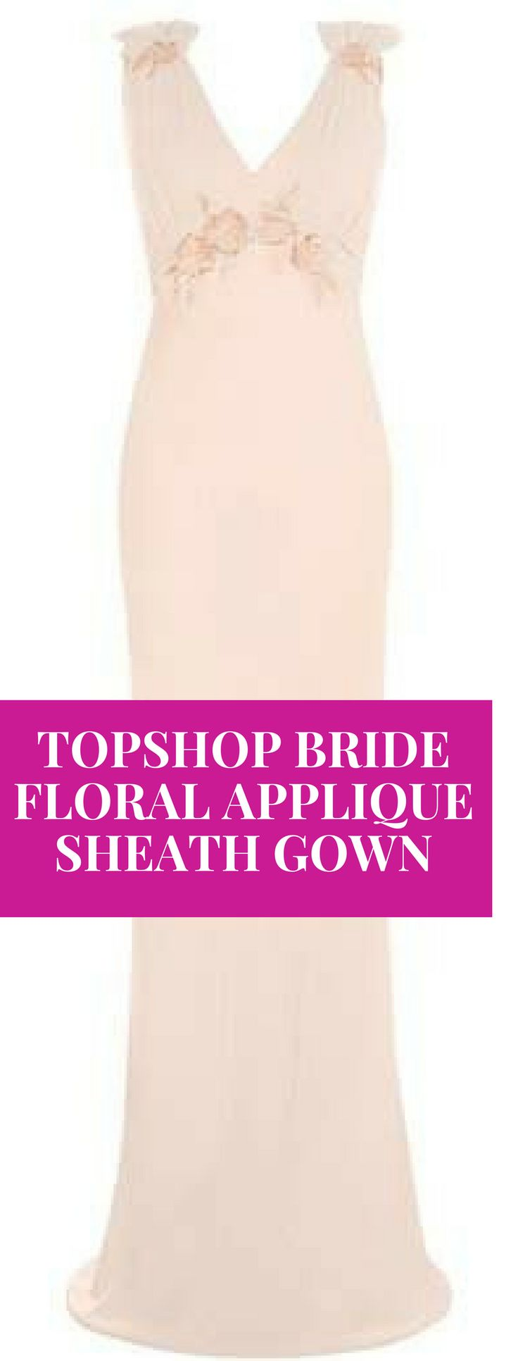 womens summer day dresses Bride Floral Appliqué Sheath Gown | Made from a luscious mix of satin and georgette, this curve-skimming sheath highlights your shoulders and waistline with romantic floral appliqués. #bride  #dresses