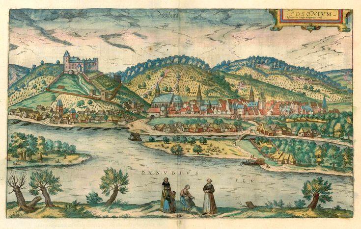 Antique map - Bird's-eye view of Bratislava (Presburg - Pozsony) by Braun and Hogenberg | Sanderus Antique Maps