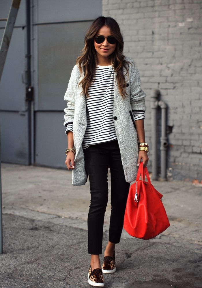 Casual chic + big red bag.