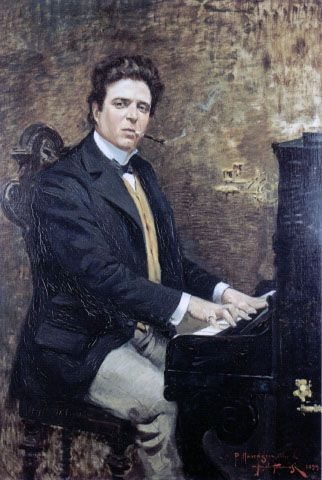 Pietro Mascagni (1863-1945), painting (1899) by Angiolo Tommasi (1858-1923).
